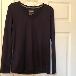 Purple Nike dri-fit v-neck longsleeve t-shirt NWOT